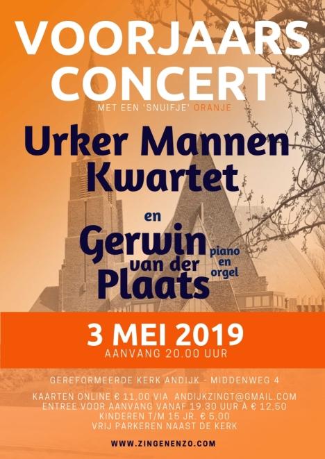 Urker Mannenkwartet en Gerwin van der Plaats in concert in Andijk