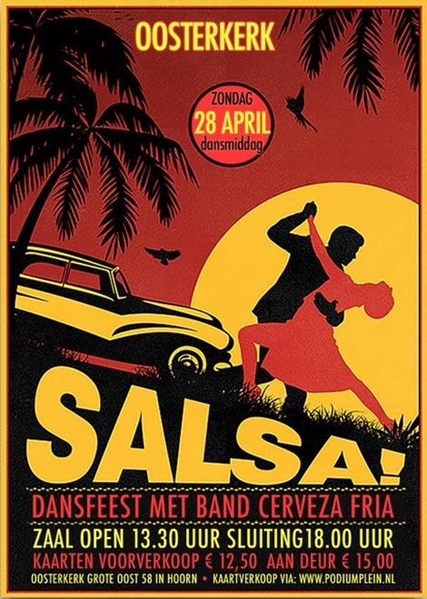 flyer Salsa dansfeest Oosterkerk Hoorn 28 april 2019