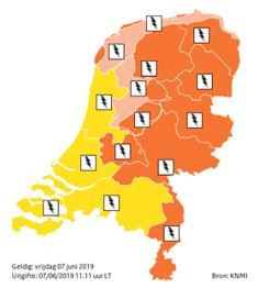 Code oranje voor groot deel van het land wegens onweer met zware windstoten