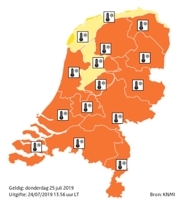Donderdag ook Code Oranje: heter dan vandaag!