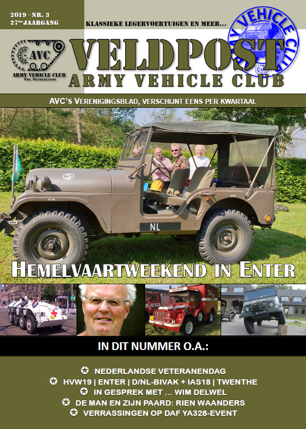 De Veldpost Nr. 3 – 2019 op de mat of in de brievenbus | Army Vehicle Club  Het derde nummer van dit jaar van De Veldpost ligt bij de leden op de mat of in de brievenbus.