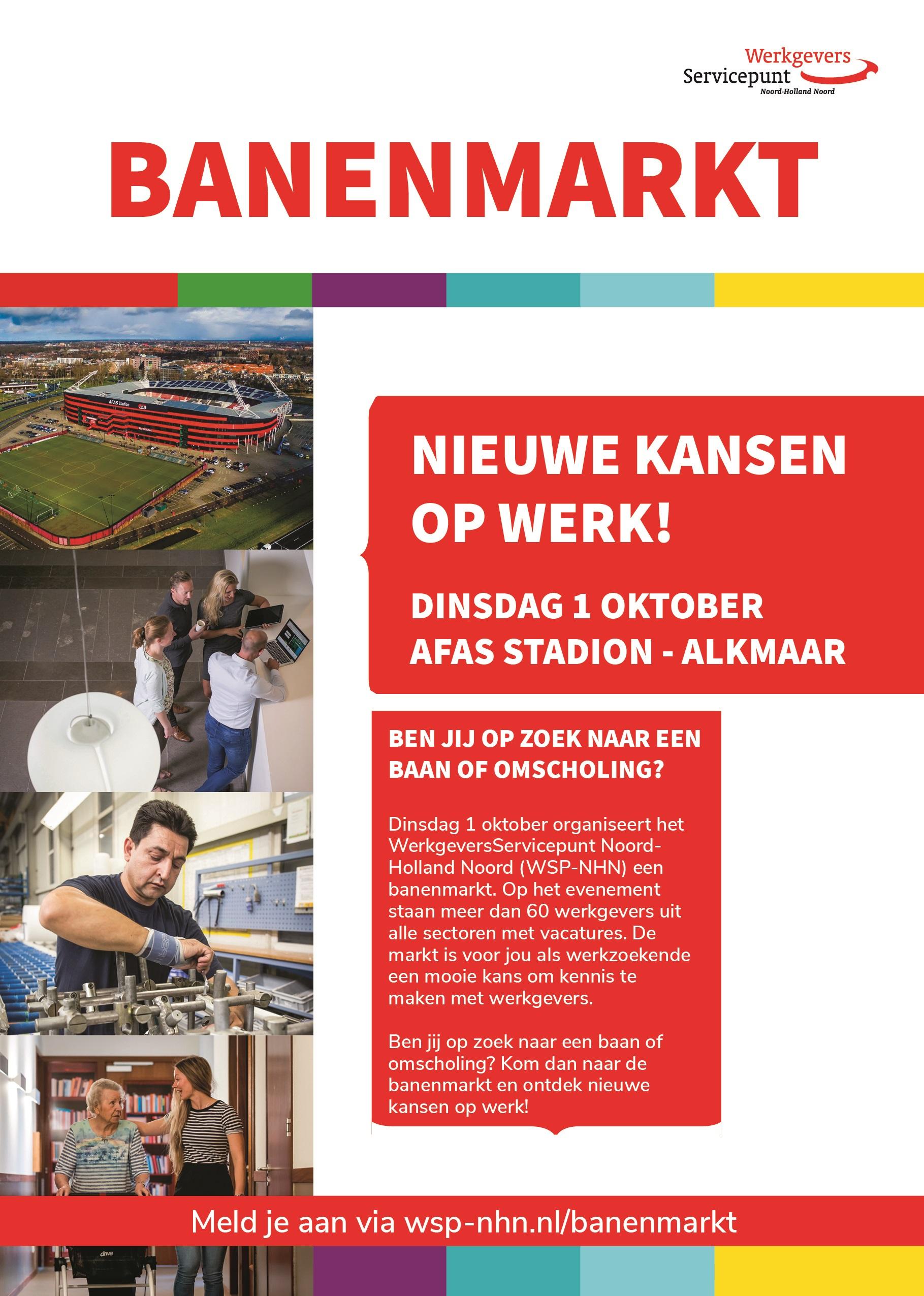 Op zoek naar werk? Pak je kans! Kom naar de banenmarkt 1 oktober in het AFAS Stadion Alkmaar