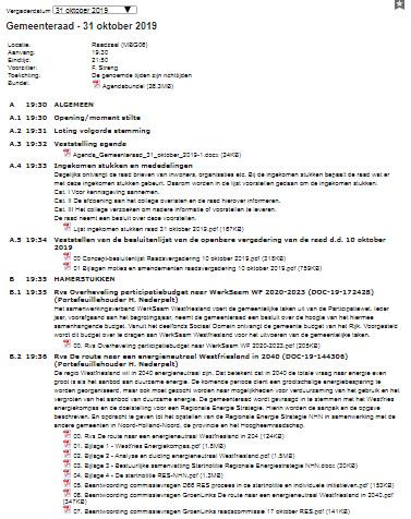 Agenda raadsvergadering 31 oktober