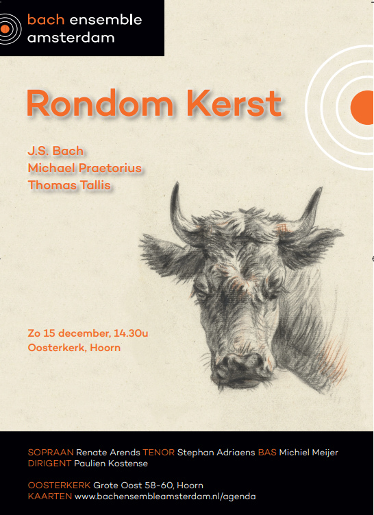 Bach Ensemble Amsterdam brengt kerstconcert met Bach, Praetorius en Tallis zondag 15 december 2019, Oosterkerk Hoorn, aanvang 14.30 uur