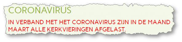 Coronavirus: Geen kerkdiensten in Andijk en andere afgelastingen van evenementen