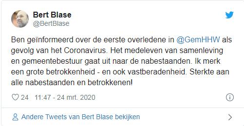 Burgemeester Heerhugowaard meldt eerste overlijden in Noord-Holland Noord door #corona