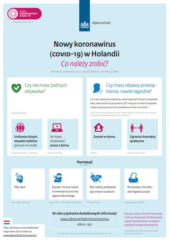 Nowy #koronawirus (COVID-19) w Holandii Co należy zrobić?